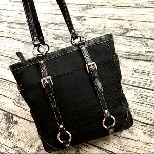 COACH⚡️Auth Black Leather Trim Mini C Gallery Tote